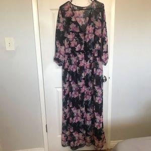 Plus Size Long Sleeve Floral Maxi SZ XXL